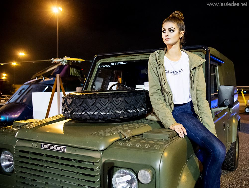 Defender Army Jeep with fashion model