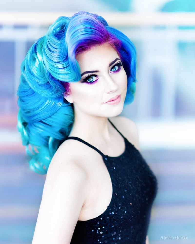 Mustafa Avci Hairstyle Mermaid hair blue best updo at Premiere Beauty Show Orlando with Matrix