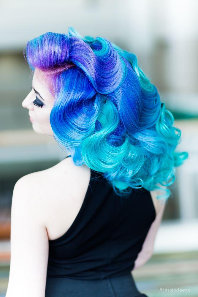 mermaid haircolor blue green and purple by hair god zito