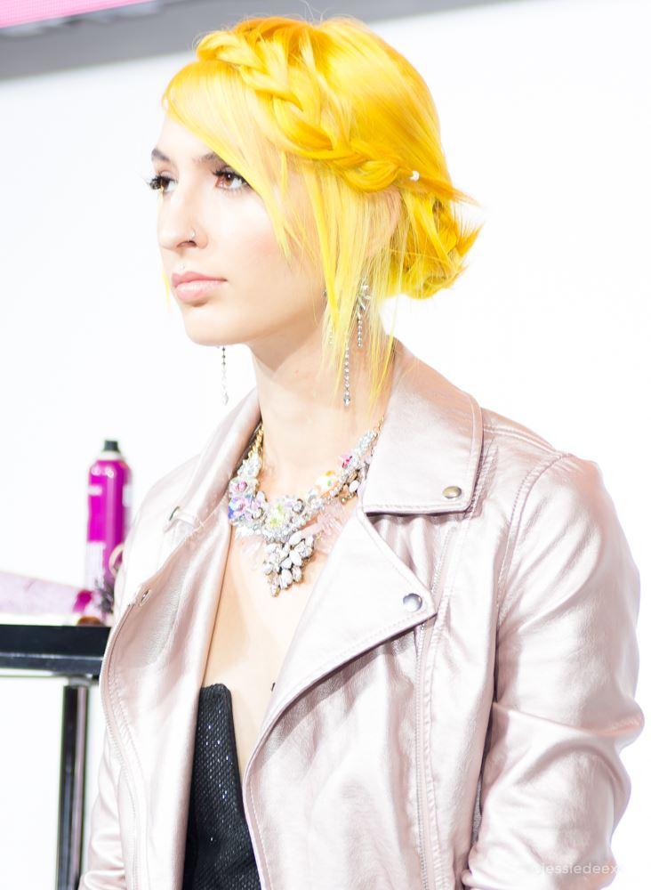 yellow hair crown braid hairstyle